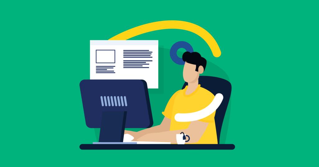Vaikinas sėdintis prie kompiuterio ieško informacijos apie nemokamą svetainių talpinimo paslaugą