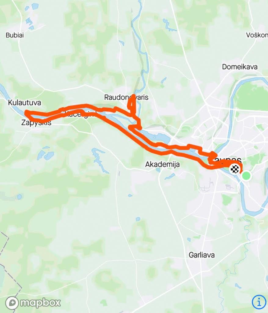 Žemėlapio nuotrauka vaizduojanti maršrutą Kauno apylinkėmis
